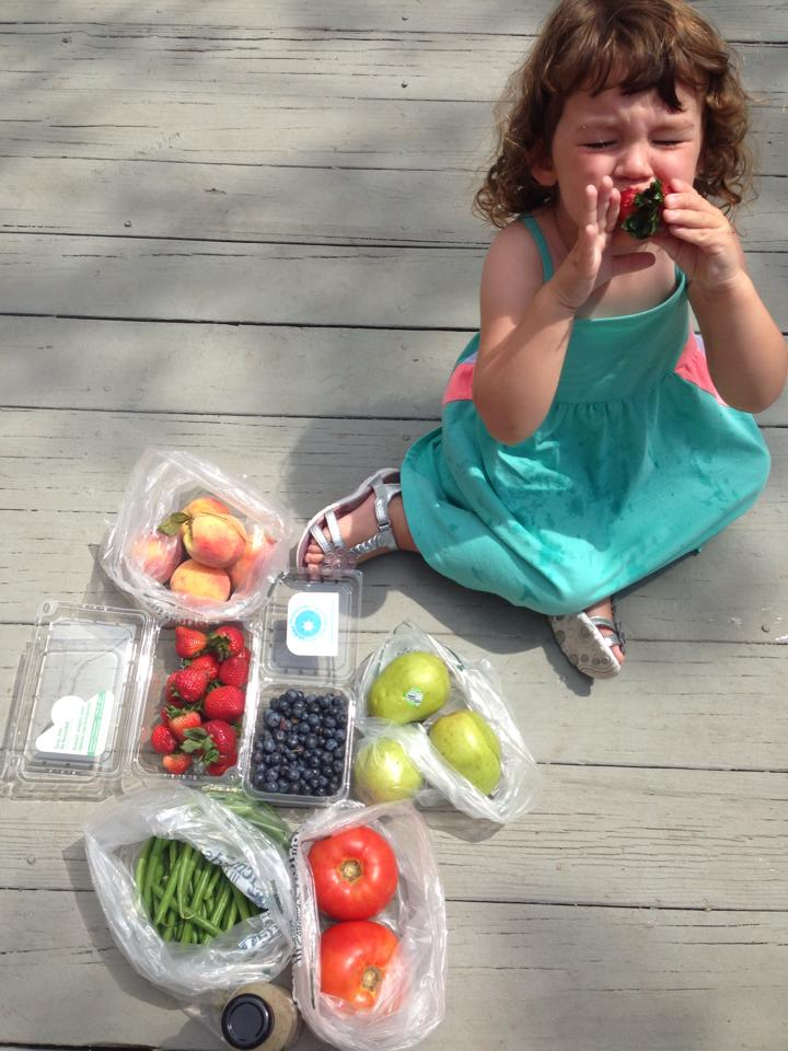 My cousin Danielle's daughter, Lily, gave the produce her stamp of approval.