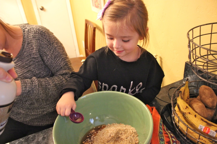 My niece Mairead mixing her chocolate chip cookie ingredients this past weekend.