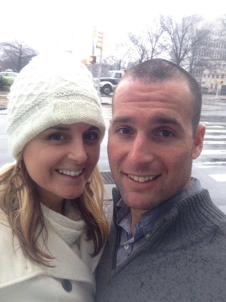 Justin and me on our wedding day. Running in the rain in between courthouses. This selfie was the only picture we took <3
