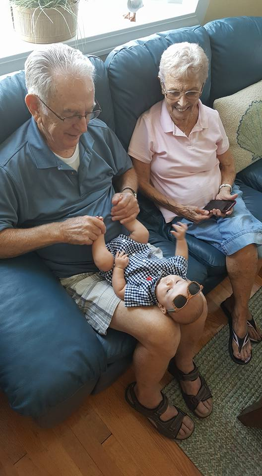 Oliver with his great-grandparents.